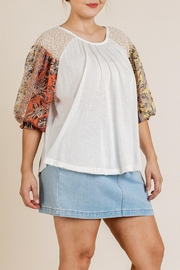 Umgee USA Sheer Puff-Sleeve Top - Front cropped