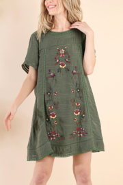 Umgee USA Embroidered A Line Dress - Front cropped