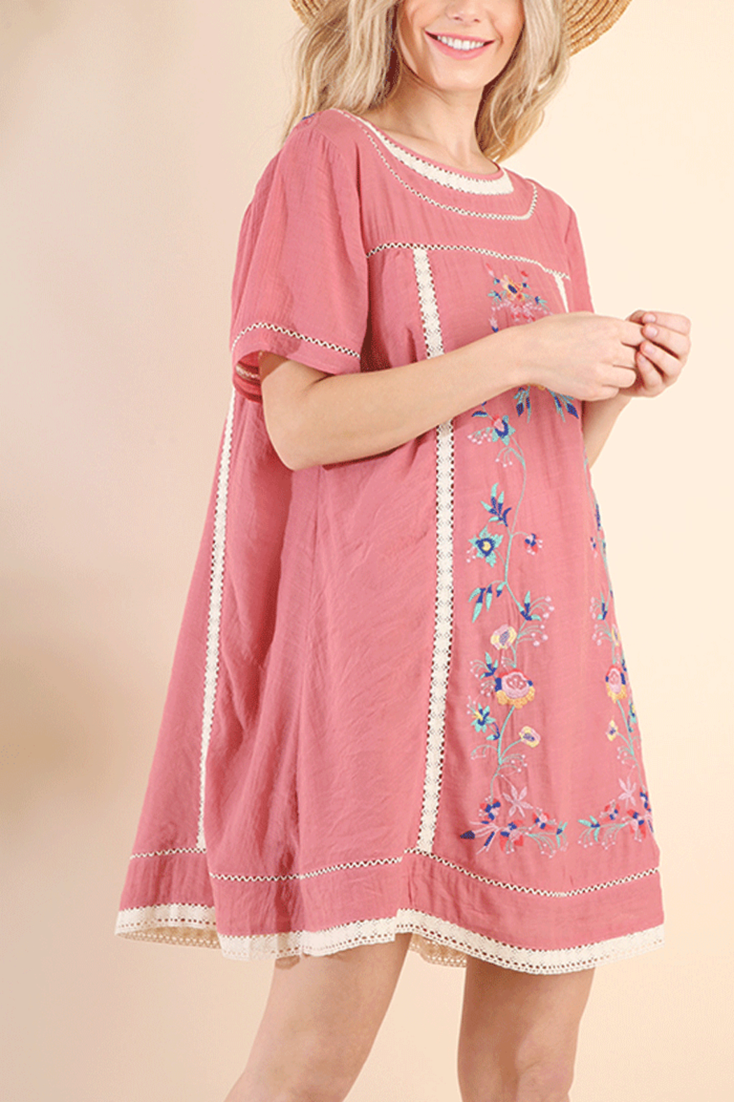 Umgee USA Embroidered A Line Dress - Front Cropped Image