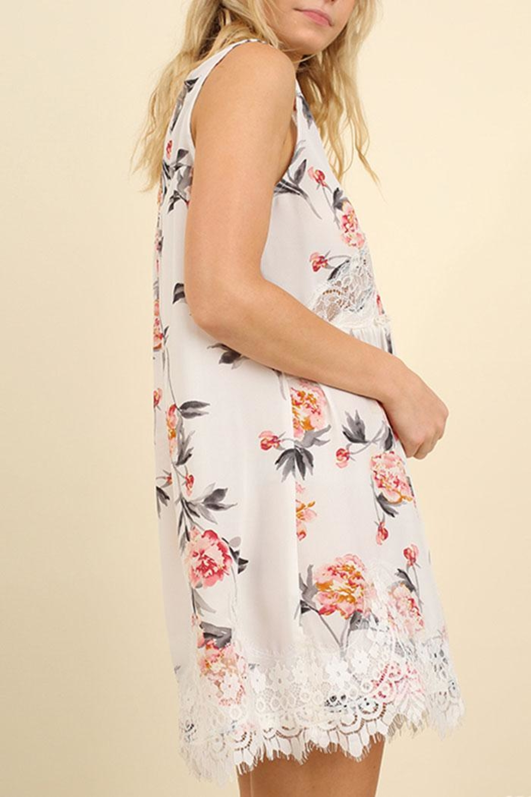 Umgee USA Sleeveless Floral Dress - Front Full Image