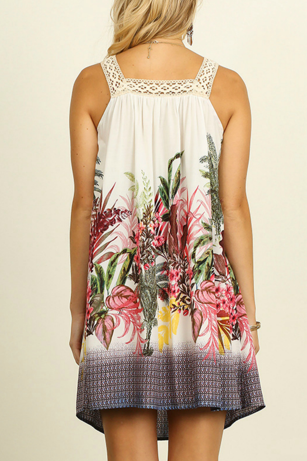 Umgee USA Sleeveless Floral Dress - Back Cropped Image