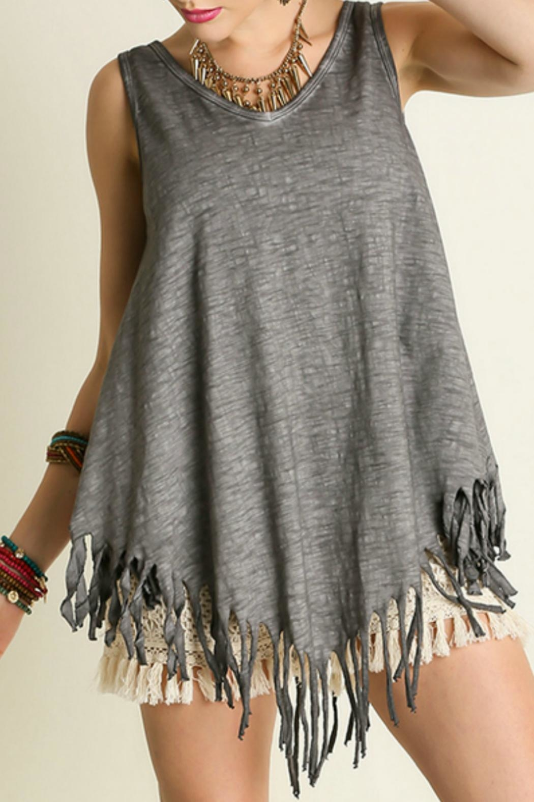 Umgee USA Sleeveless Fringe Top - Front Cropped Image