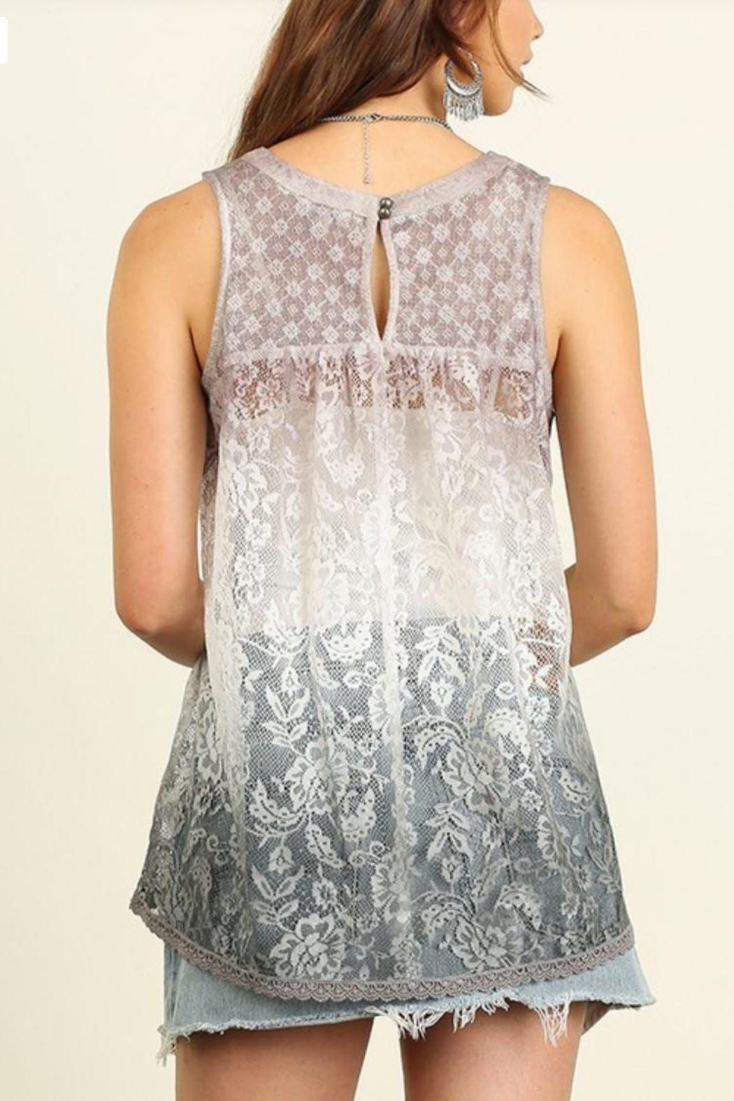 Umgee USA Sleeveless Lace Top - Front Full Image