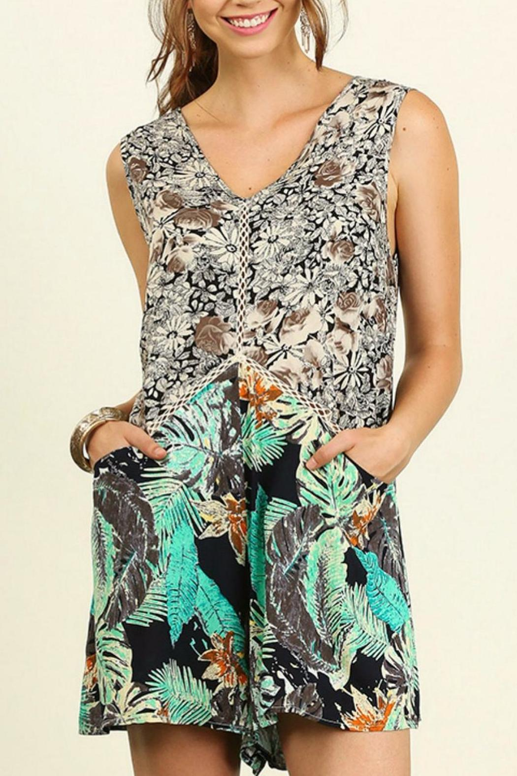 Umgee USA Sleeveless Print Romper - Front Cropped Image