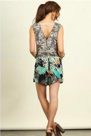 Umgee USA Sleeveless Print Romper - Front full body