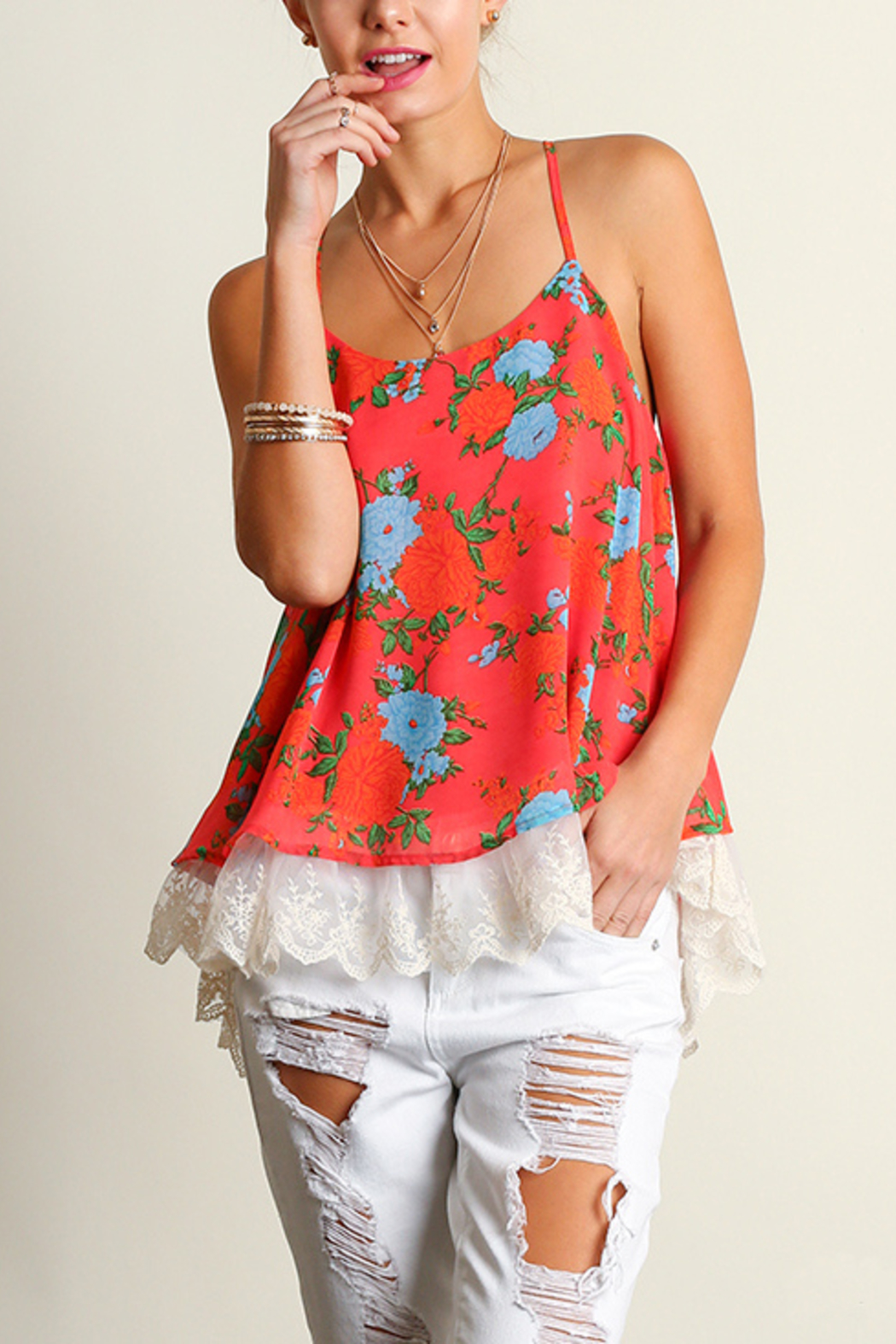 Umgee USA Sleeveless Print Top - Front Cropped Image