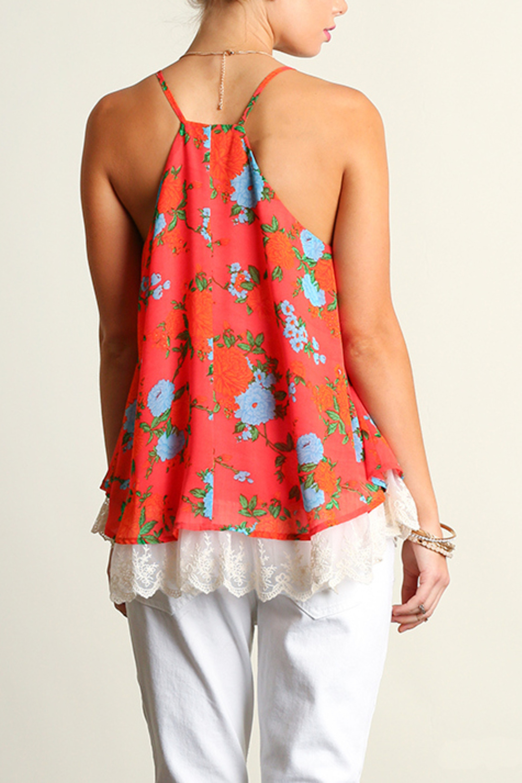 Umgee USA Sleeveless Print Top - Back Cropped Image