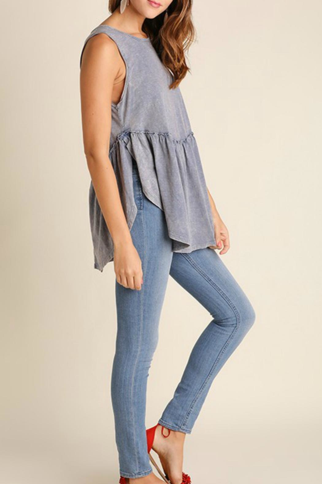 Umgee USA Garment-Washed Ruffle-Top - Front Full Image