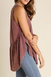Umgee USA Garment-Washed Ruffle-Top - Front full body
