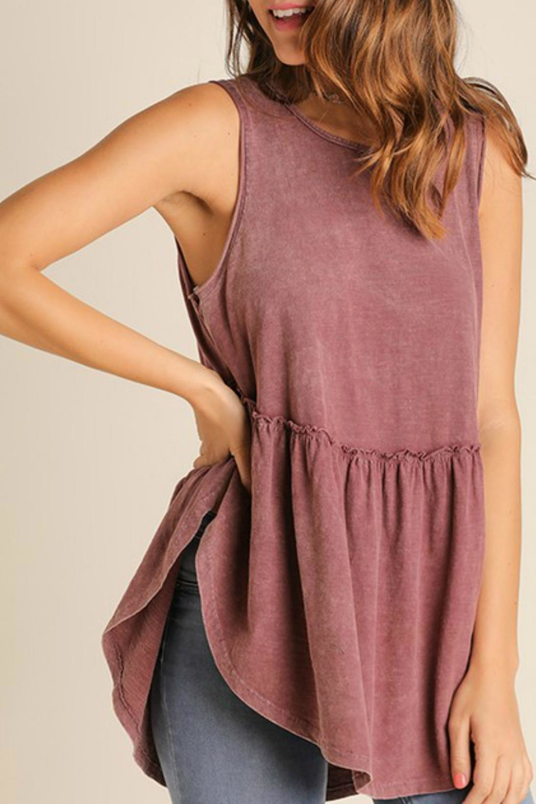 Umgee USA Garment-Washed Ruffle-Top - Front Cropped Image