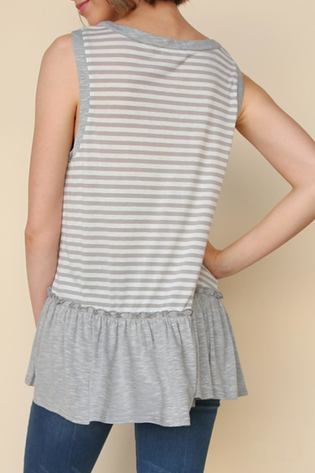 Umgee USA Sleeveless Striped Top - Front Full Image
