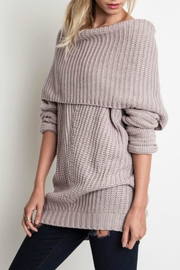 Umgee USA Slouchy Ribbed Sweater - Front cropped