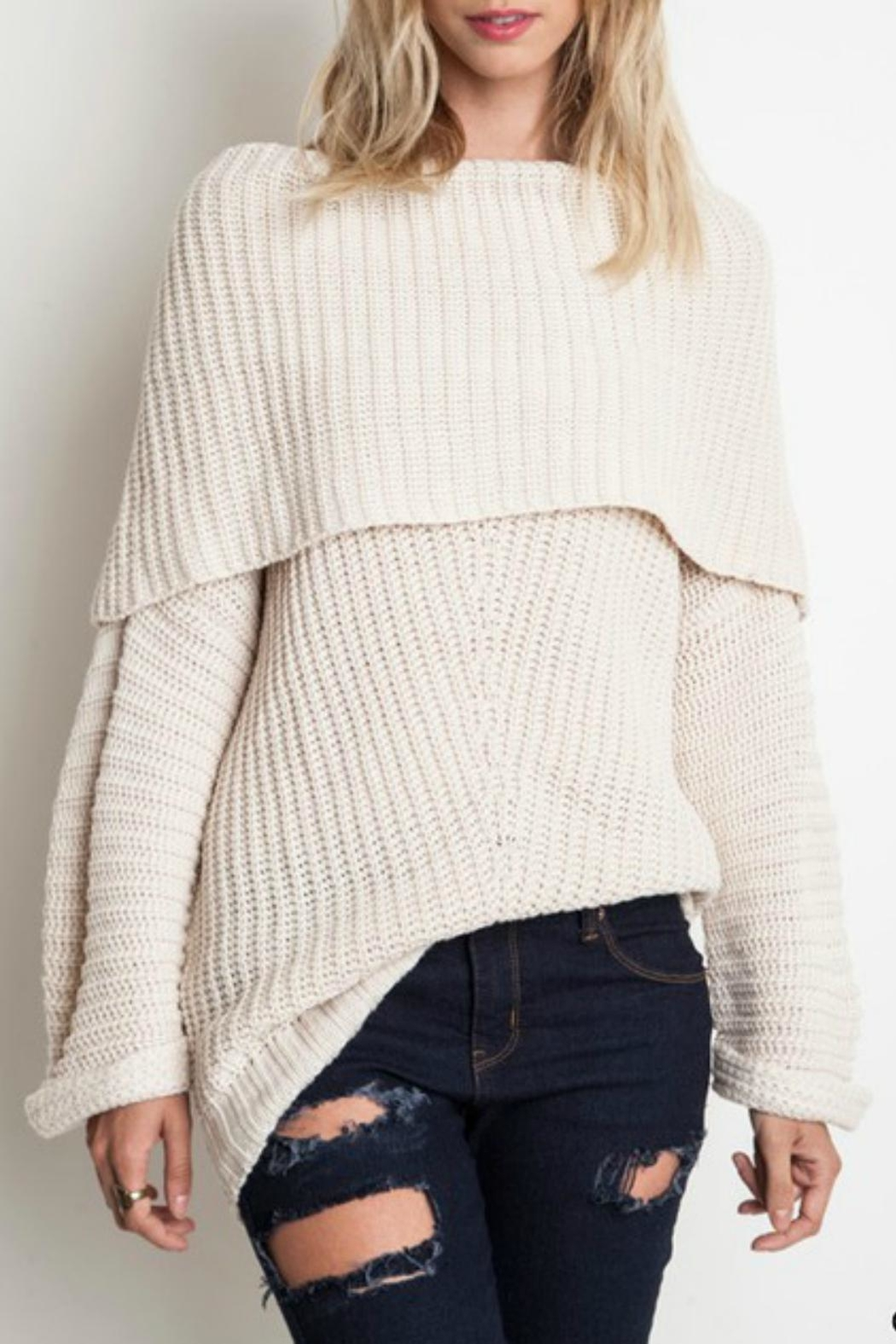 Umgee USA Slouchy Ribbed Sweater - Front Cropped Image