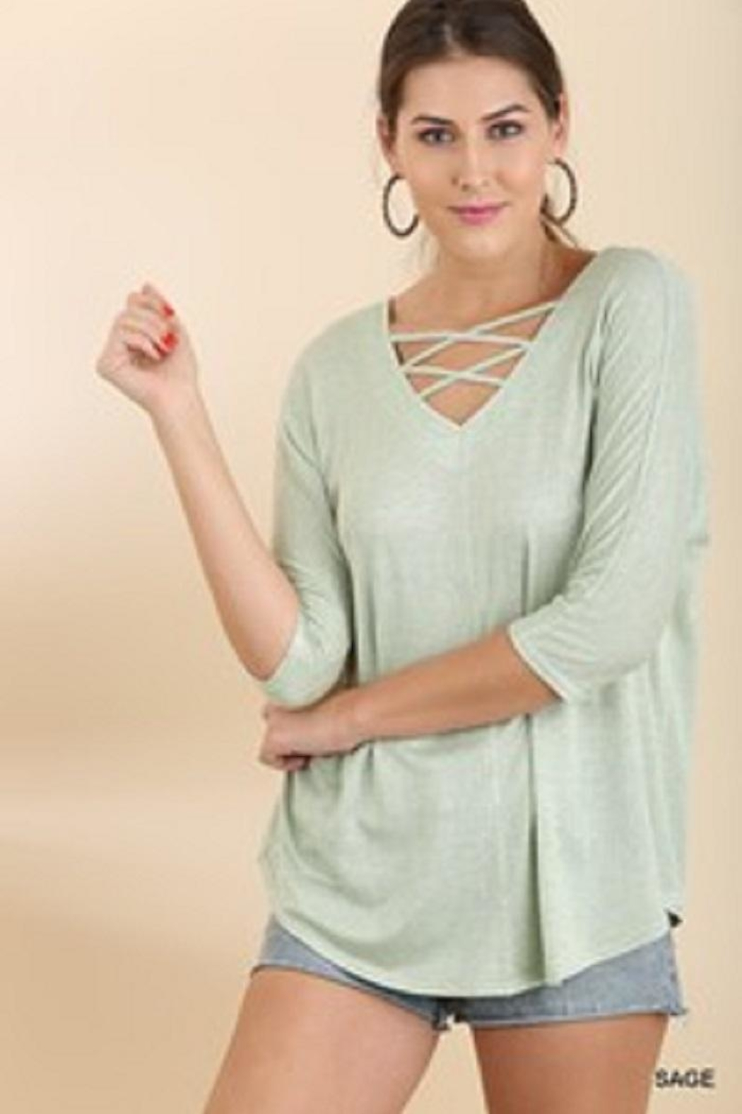 Umgee USA Slub Knit Top - Front Cropped Image