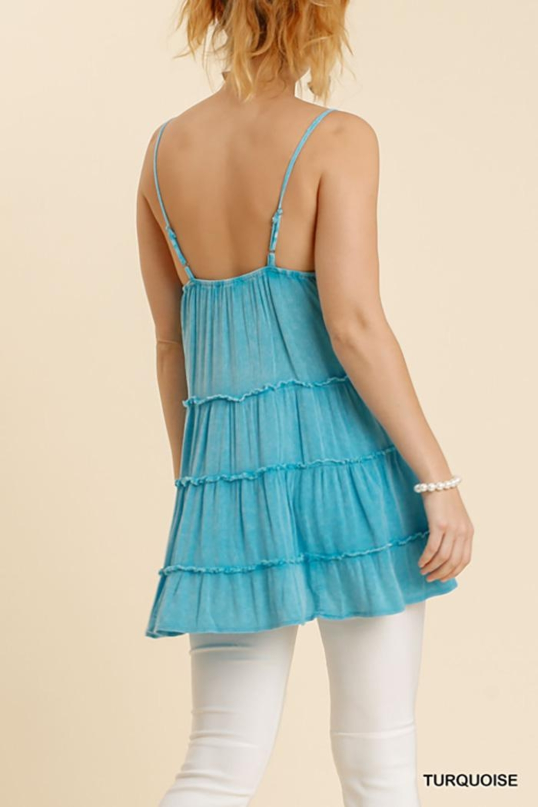 Umgee USA Spaghetti Strap Ruffle Tiered Top - Front Full Image