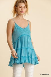 Umgee USA Spaghetti Strap Ruffle Tiered Top - Front cropped