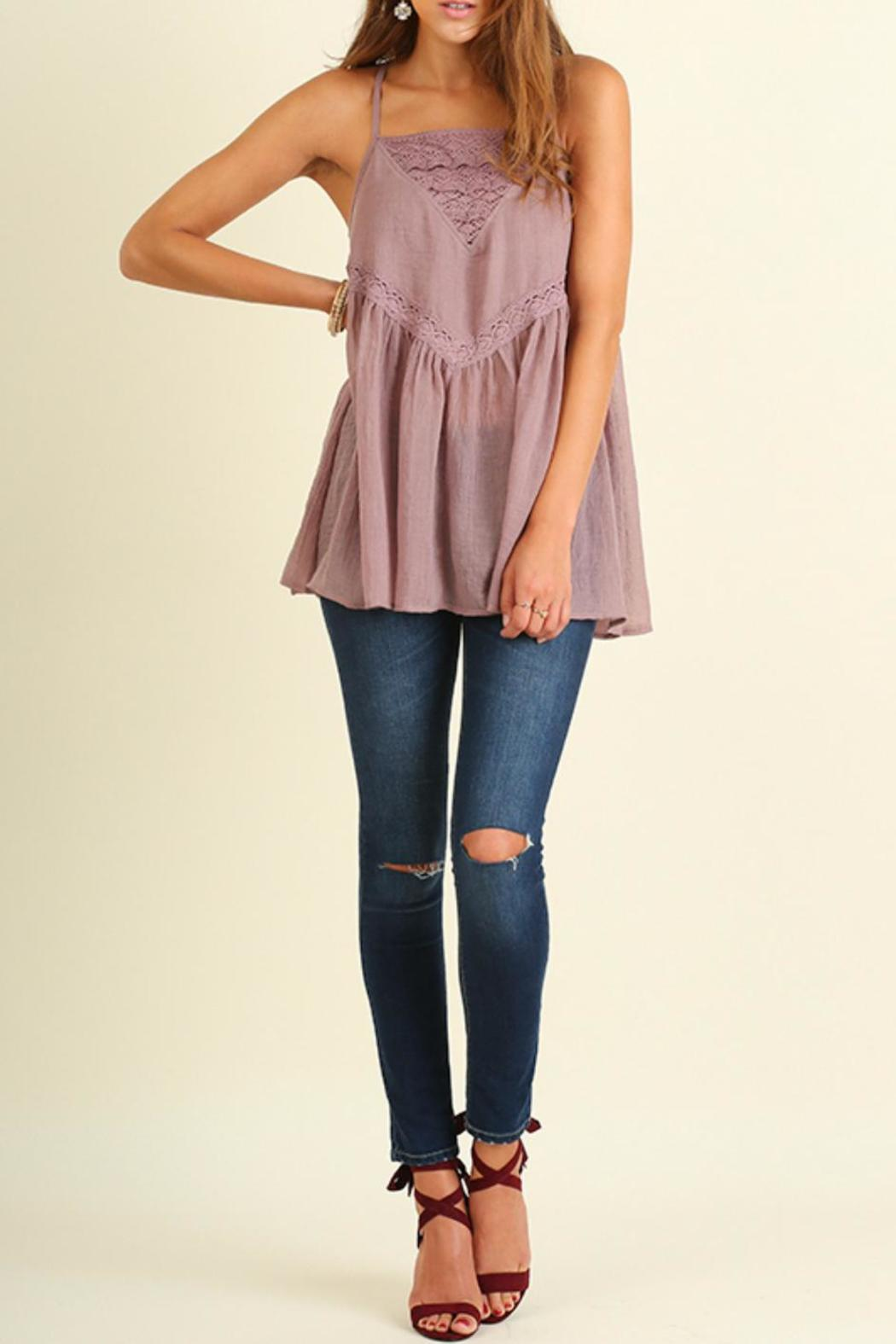 Umgee USA Strapless Mauve Top - Front Cropped Image