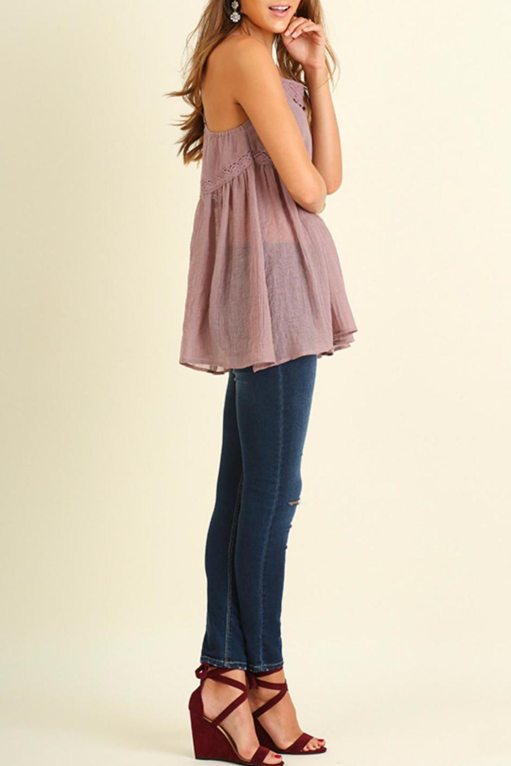 Umgee USA Strapless Mauve Top - Side Cropped Image