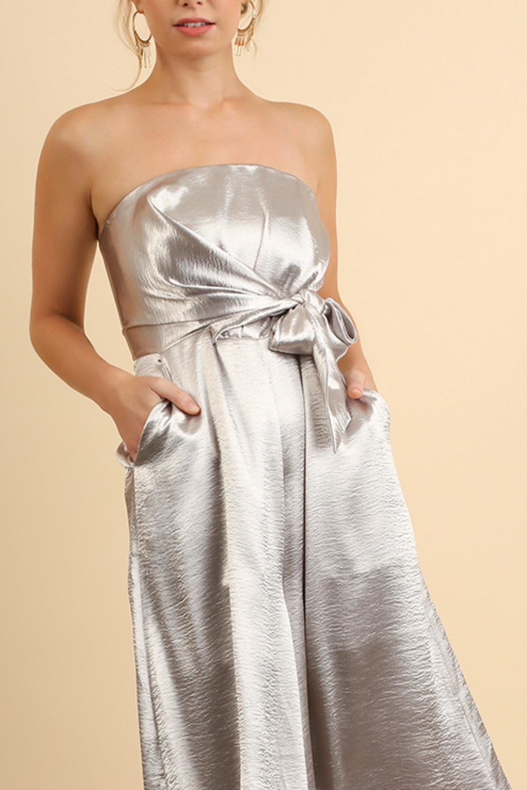 Umgee USA Strapless Metallic Jumpsuit - Front Cropped Image