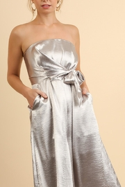 Umgee USA Strapless Metallic Jumpsuit - Front cropped