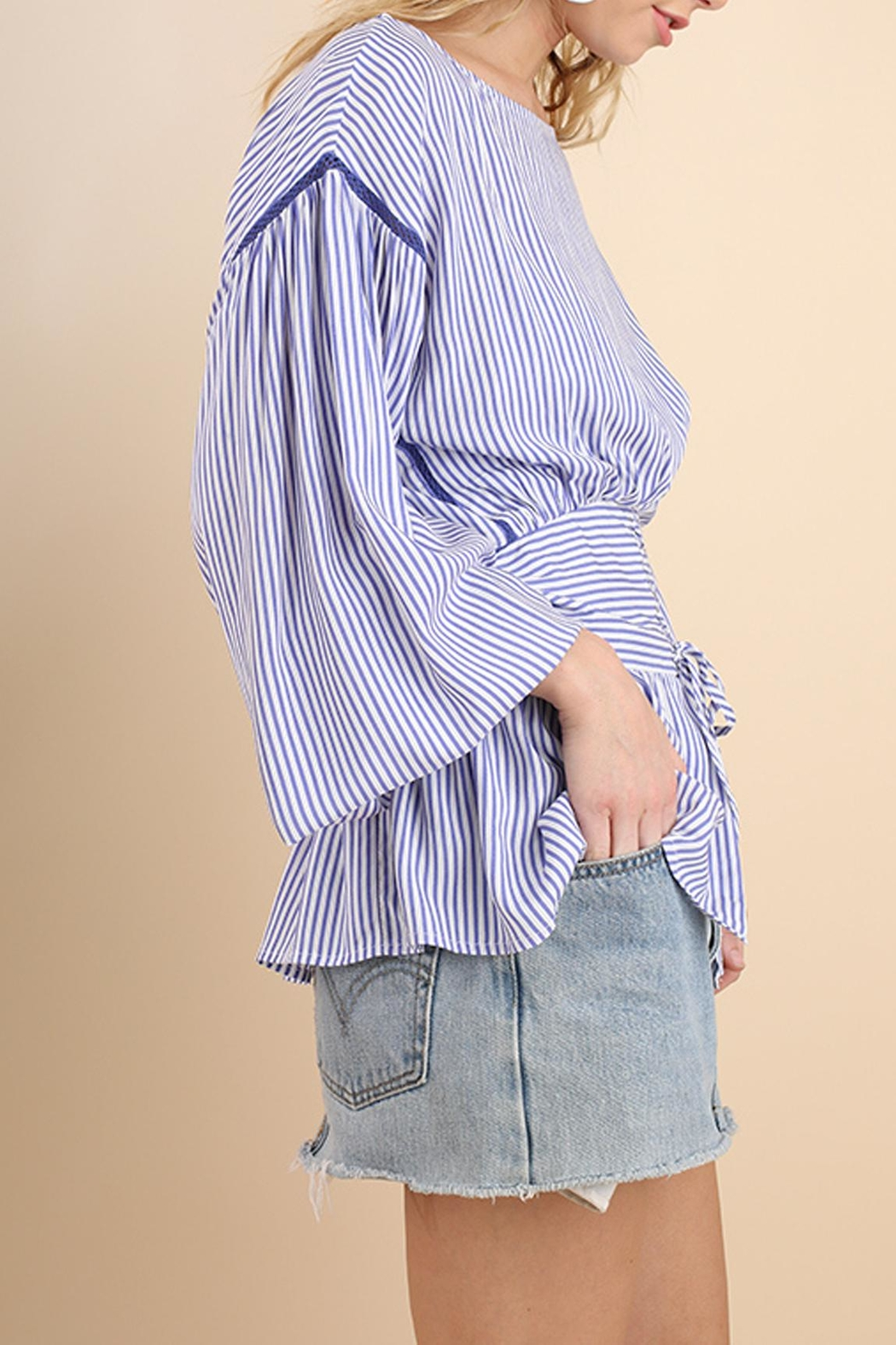Umgee USA Striped Belted Top - Front Full Image
