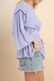 Umgee USA Striped Belted Top - Front full body