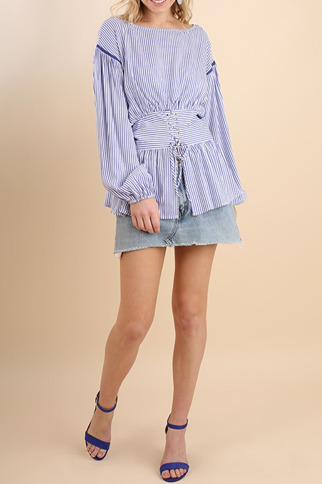 Umgee USA Striped Belted Top - Side Cropped Image