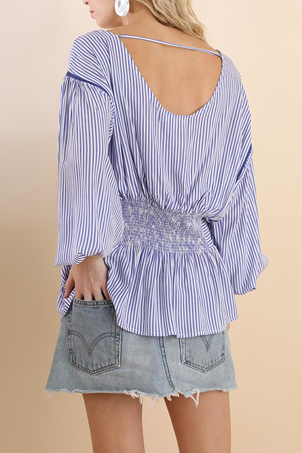 Umgee USA Striped Belted Top - Back Cropped Image