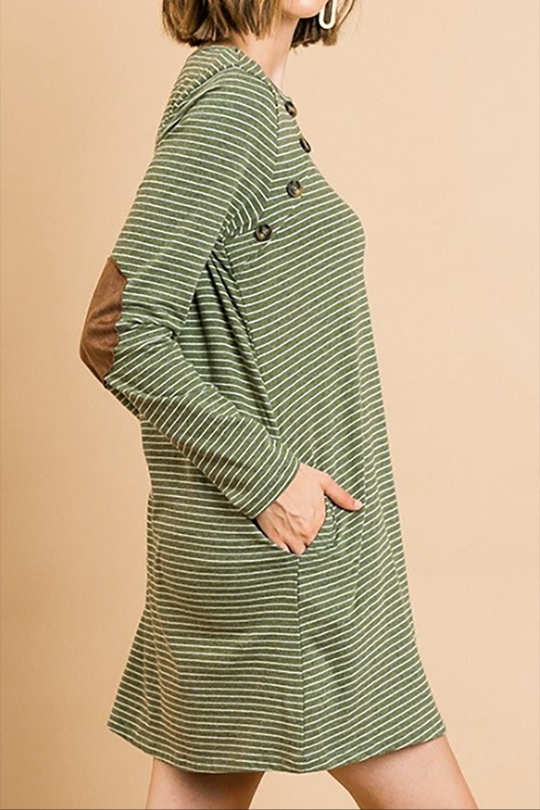 Umgee USA Striped Button Dress - Front Full Image