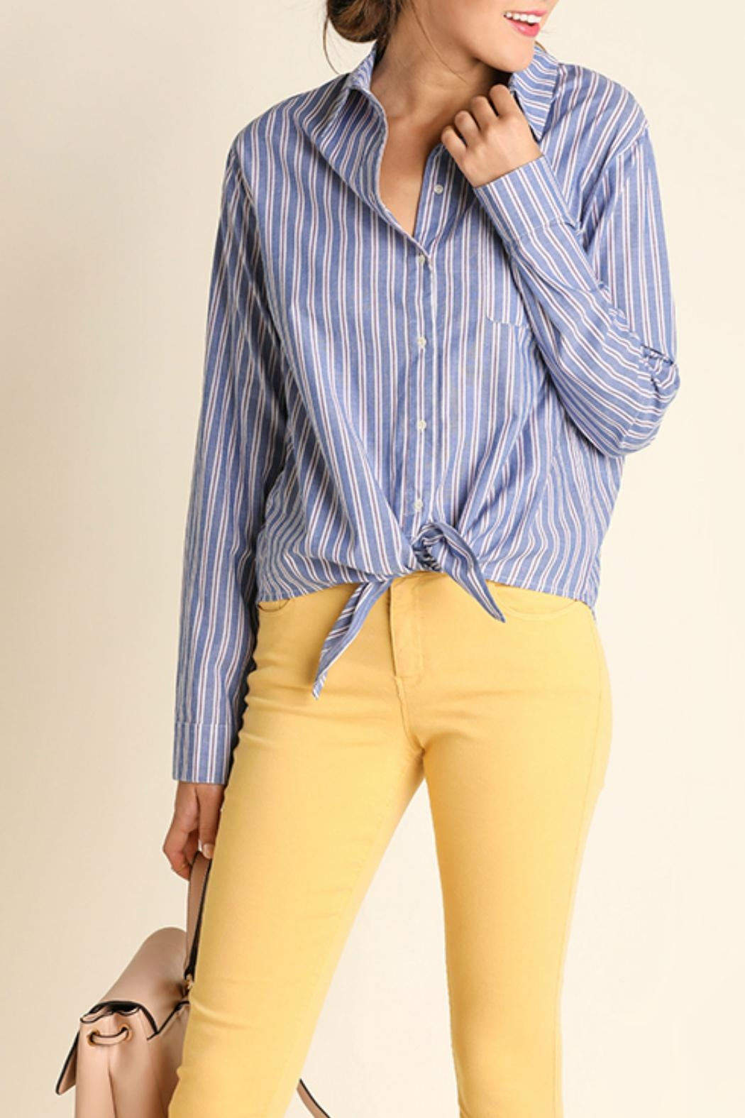 Umgee USA Striped Button Up Blouse - Front Cropped Image