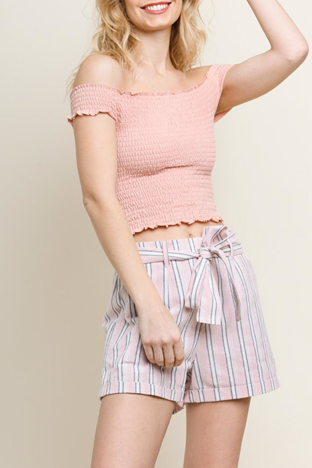 Umgee USA Striped Cuff Shorts - Front Cropped Image