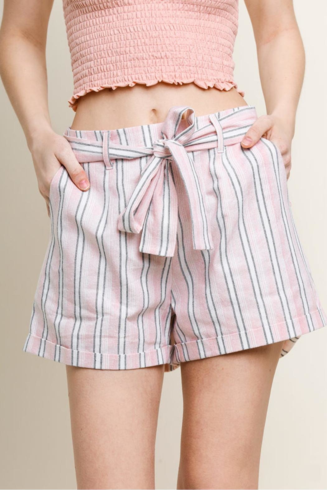 Umgee USA Striped Cuff Shorts - Front Full Image