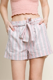Umgee USA Striped Cuff Shorts - Front full body
