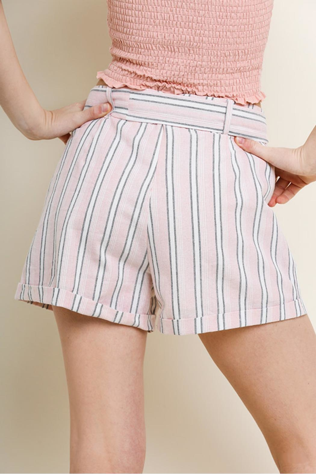 Umgee USA Striped Cuff Shorts - Side Cropped Image