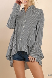 Umgee USA Striped Drama Blouse - Front cropped