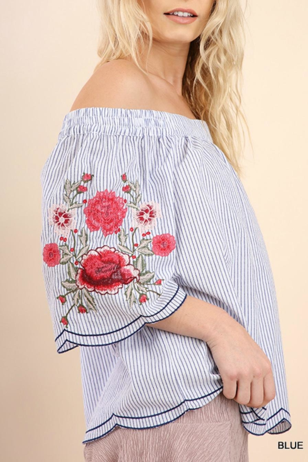 Umgee USA Striped Embroidered Sleeves - Front Full Image