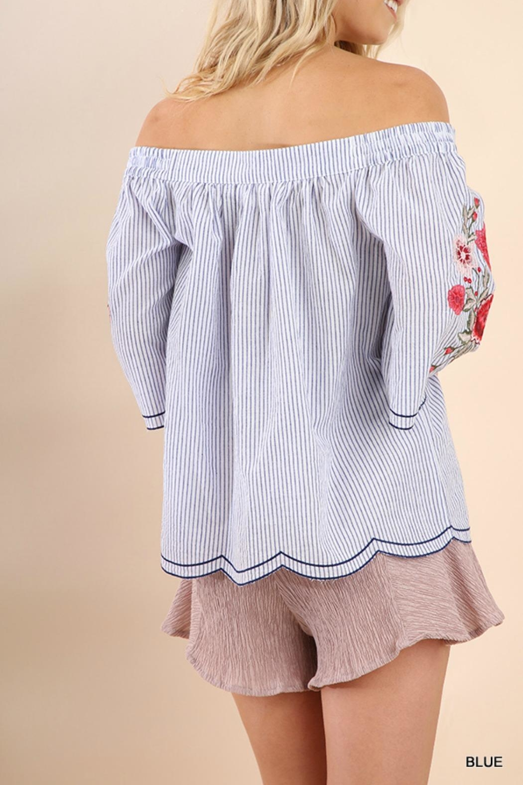 Umgee USA Striped Embroidered Sleeves - Side Cropped Image