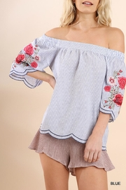 Umgee USA Striped Embroidered Sleeves - Product Mini Image