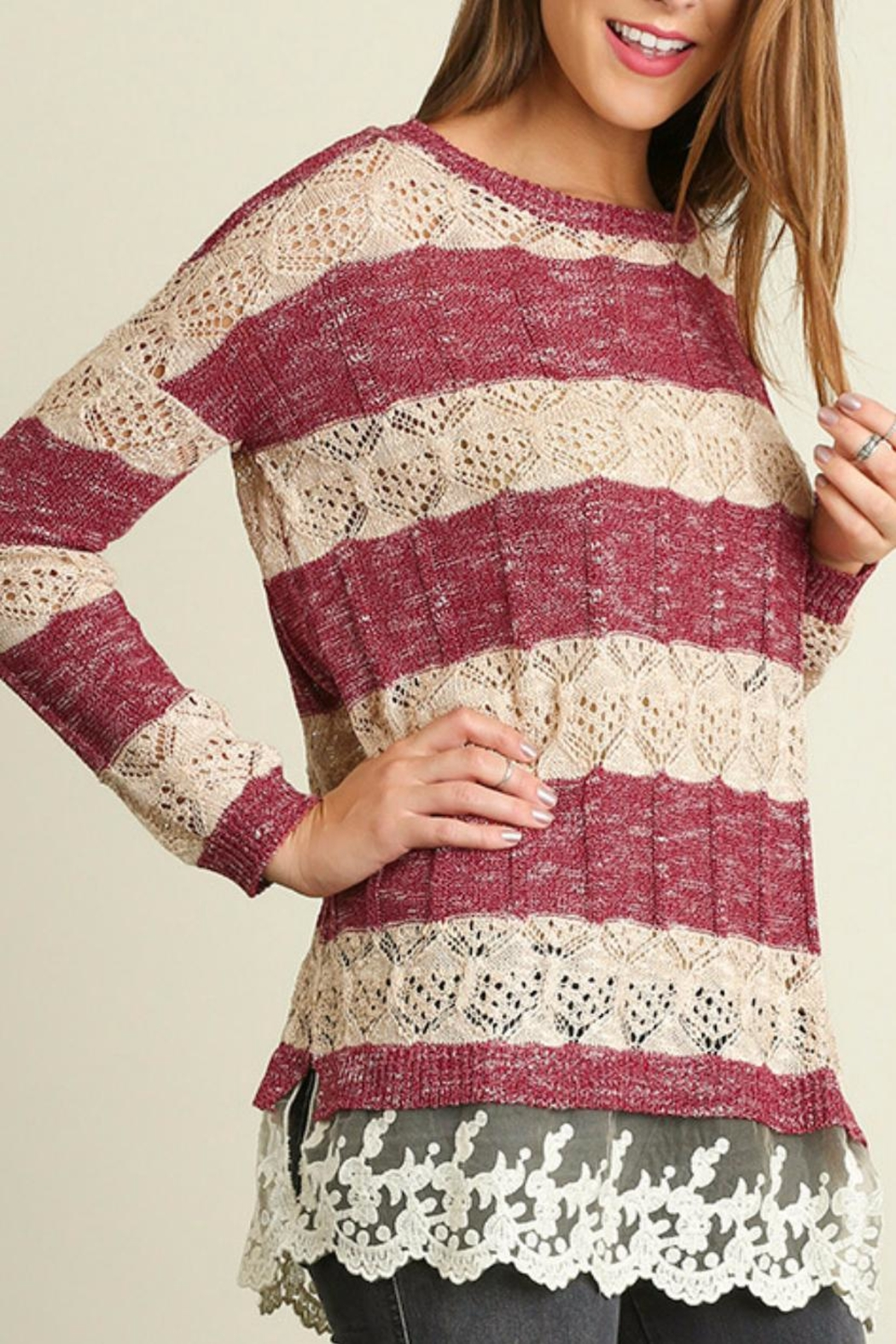Umgee USA Striped Knit Sweater - Front Full Image