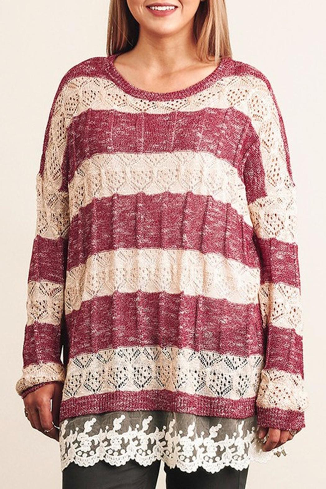 Umgee USA Striped Lace Sweater - Front Cropped Image