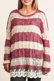 Umgee USA Striped Lace Sweater - Product Mini Image