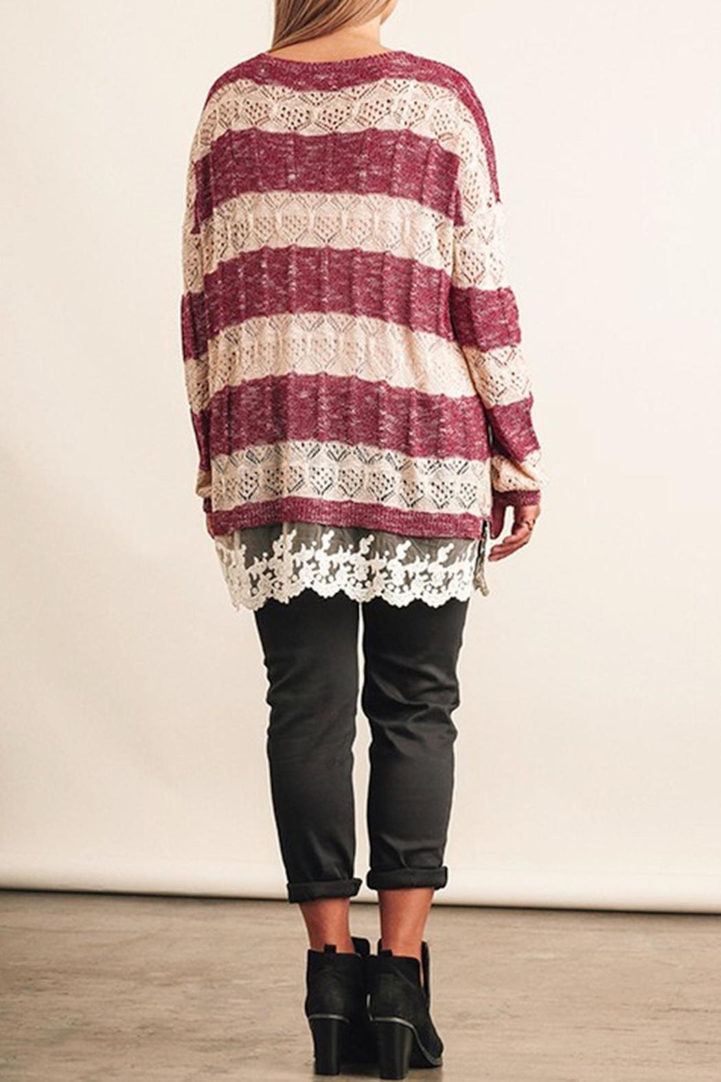 Umgee USA Striped Lace Sweater - Front Full Image