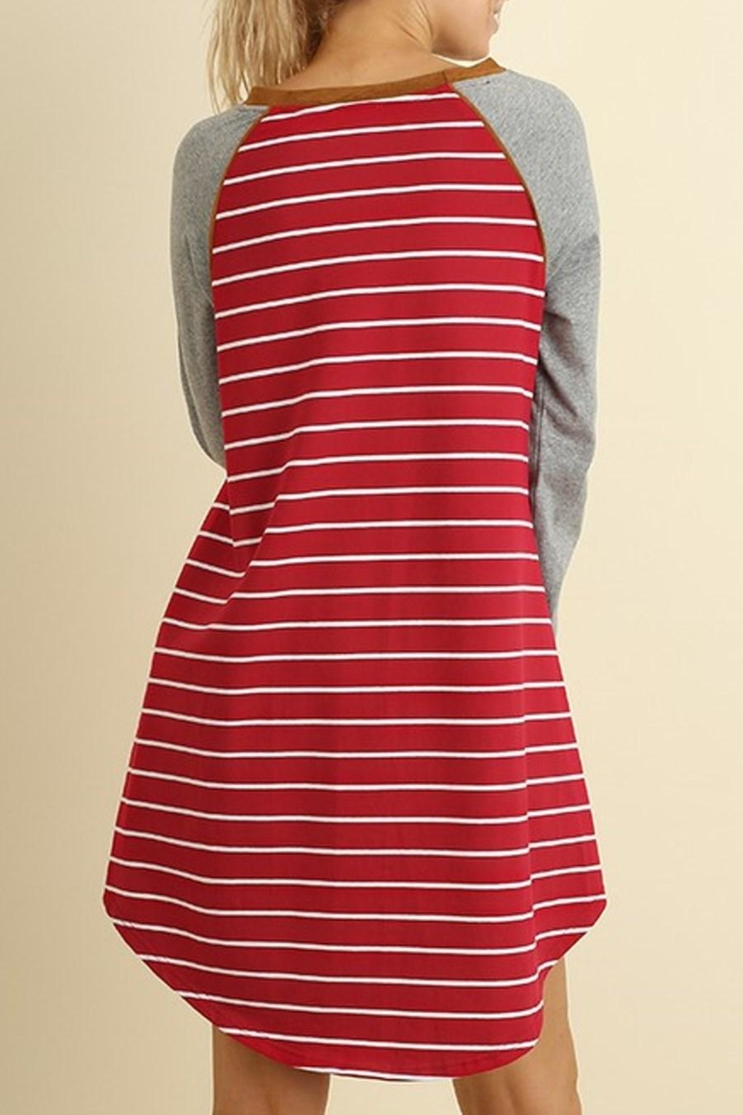 Umgee USA Striped T Shirt Dress - Front Full Image