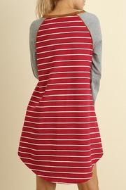 Umgee USA Striped T Shirt Dress - Front full body