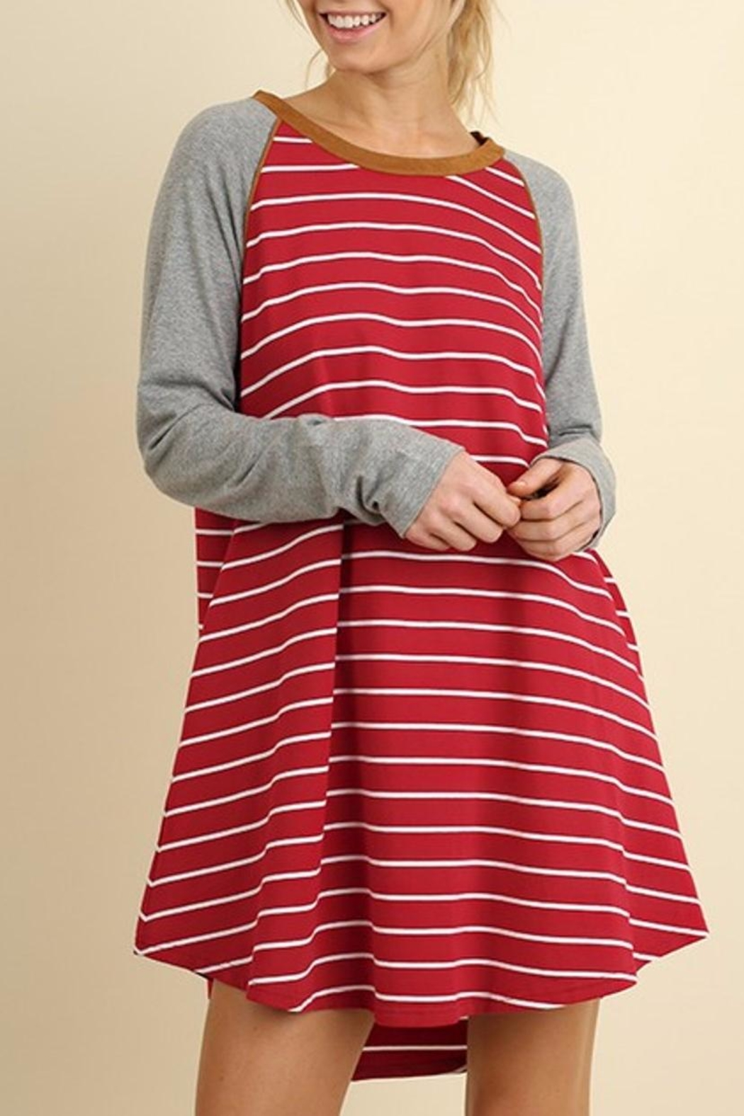 Umgee USA Striped T Shirt Dress - Front Cropped Image
