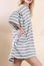 Umgee USA Striped V-Neck Dress - Front full body