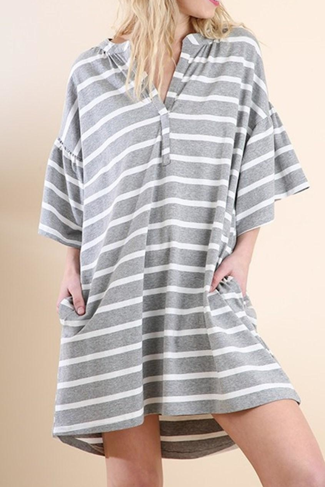 Umgee USA Striped V-Neck Dress - Front Cropped Image