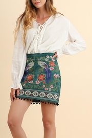 Umgee USA Suede Embroidered Skirt - Product Mini Image