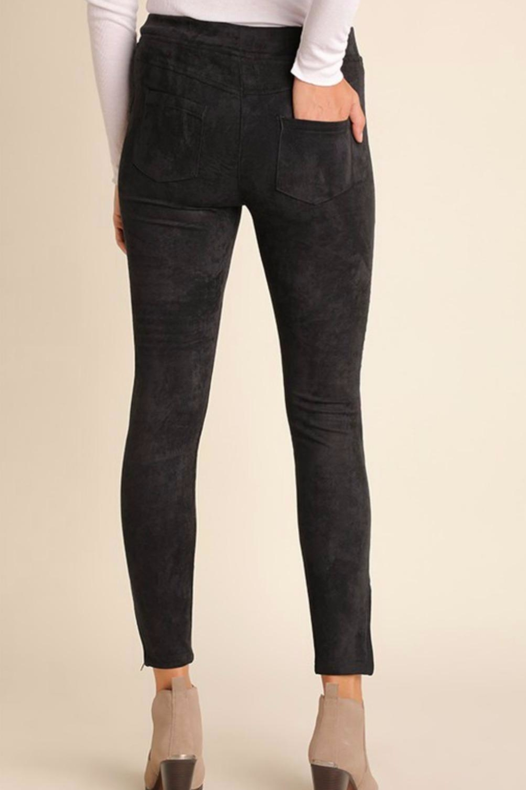 Umgee USA Suede Moto Jegging - Front Full Image
