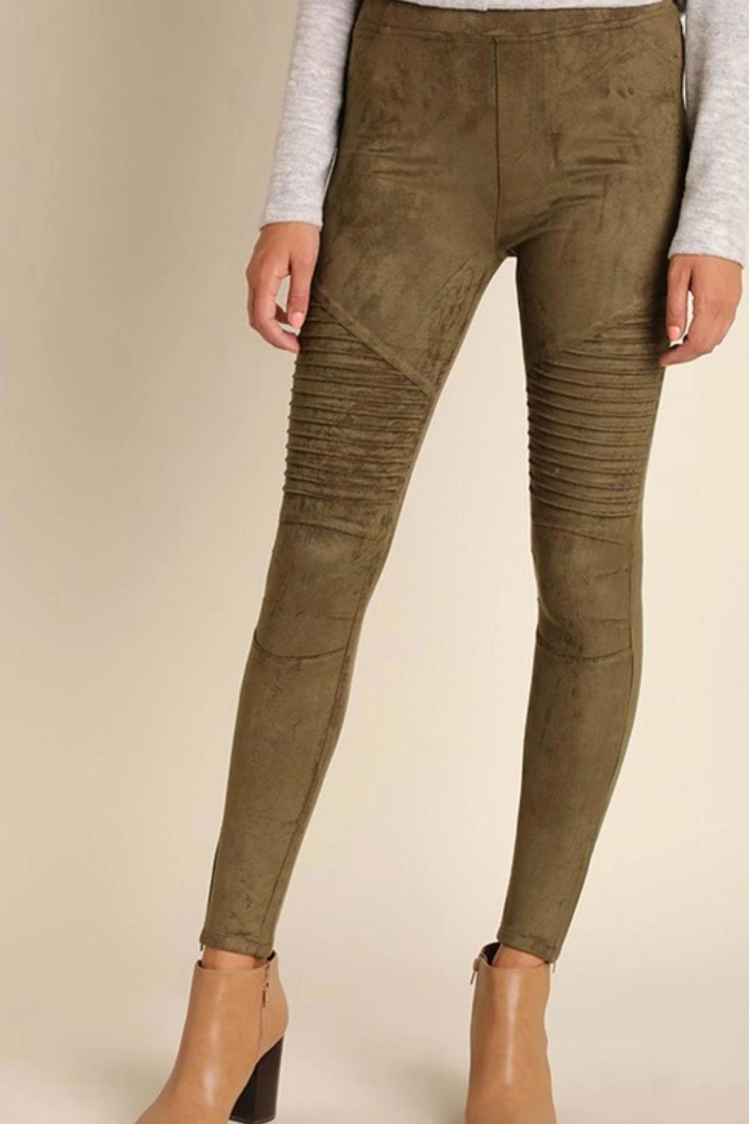 Umgee USA Suede Moto Jegging - Front Cropped Image